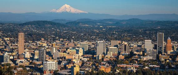 Aerial views of Portland, Oregon
