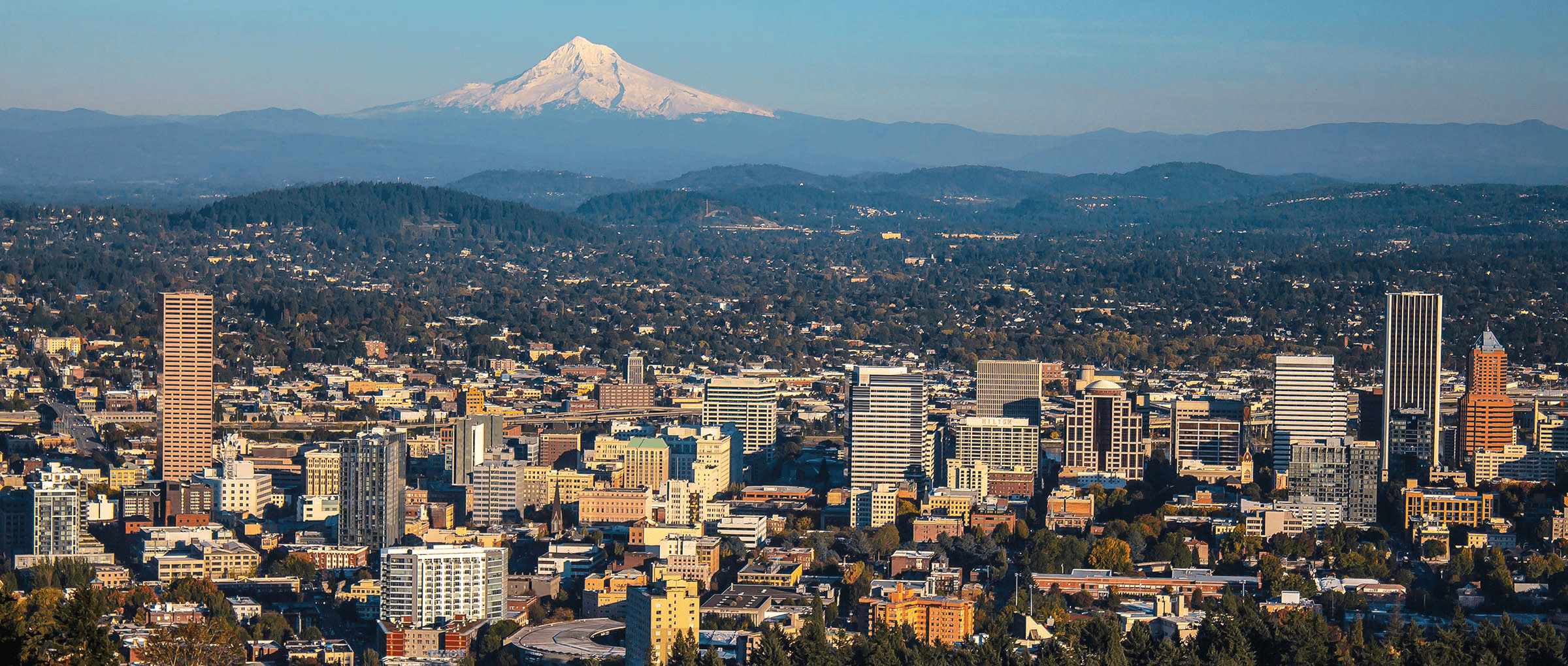 Aerial views of Portland, Oregon