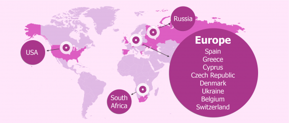 Map of the most popular destination countries for IVF treatment abroad