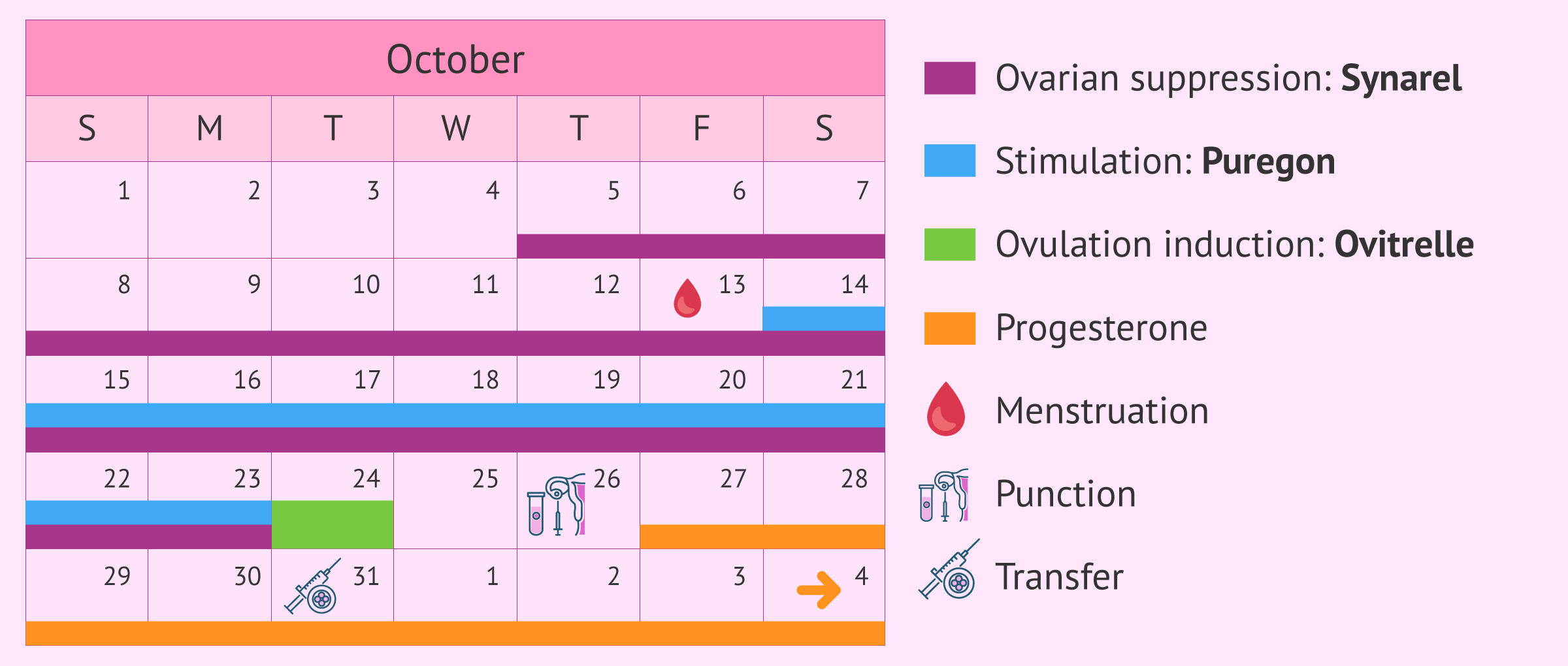 Calendar for long stimulation protocol